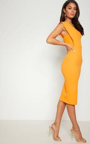 Plt prettylittlething горчичное жолтое платье миди