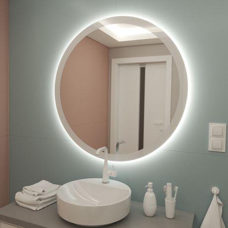 Okrągłe Lustro LED 90 cm z drukowaną białą ramką
