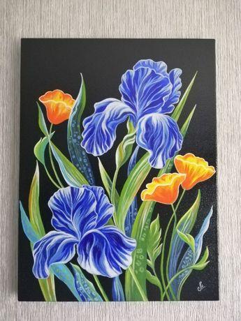 Картина Ночные ирисы Купить на подарок картину уникальная