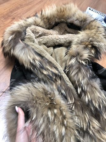 Sprzedam śliczna kurtkę zimowa parke naturalny jenot lis płaszcz okazj