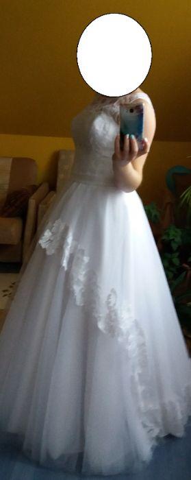 Suknia Ślubna, biała, rozmiar M na 163cm + 3cm obcas Zaręby-Warchoły - image 1