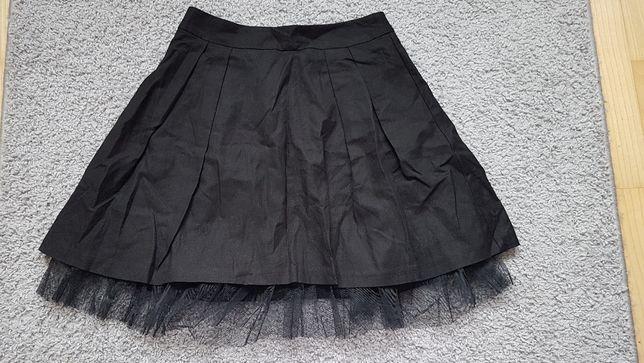 Spódnica rozkloszowana tiul lniana czarna Quiosque 34 XS