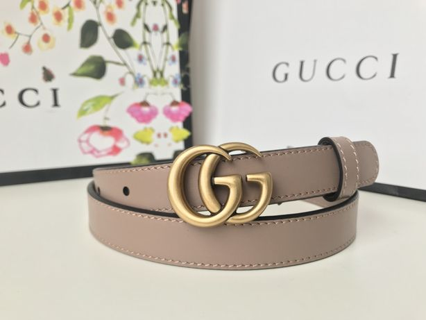 Gucci marmot GG pasek skóra nude beżowy złota klamra 3 cm