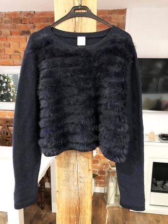 PINKO sweter futerko naturalne wełna L