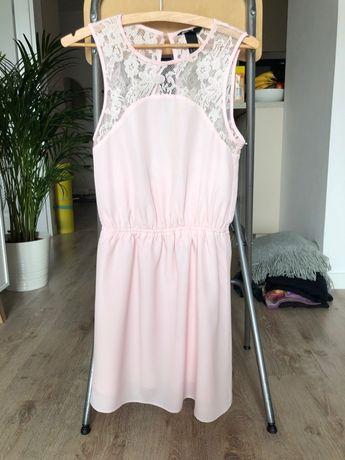 Piękna wieczorowa różowa sukienka H&M