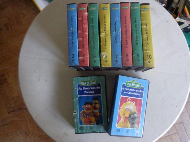 varias casetes vhs desenhos animados rua sesamo cassetes