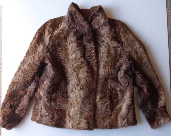 Futro futerko kożuch kożuszek kurtka płaszcz brązowe 40 42 L XL damski
