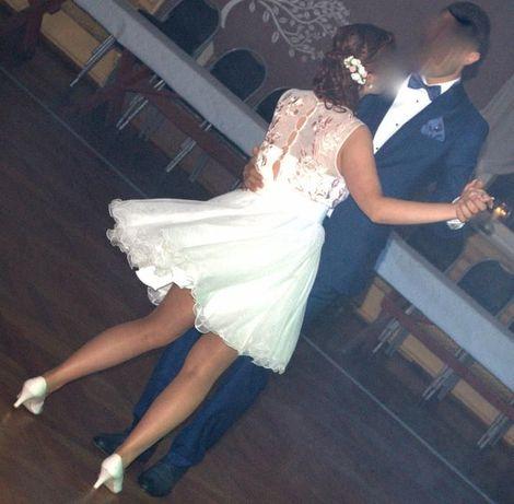 Cudna krótka sukienka, suknia ślubna, cywilny, r 38, M, ślub