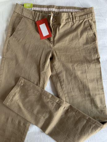 Nowe z metkami beżowe spodnie golfowe, damskie