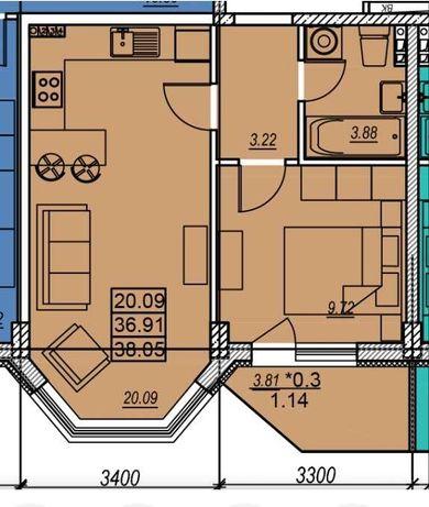 Продам 1-комнатную в новом малоэтажном доме на Заболотного