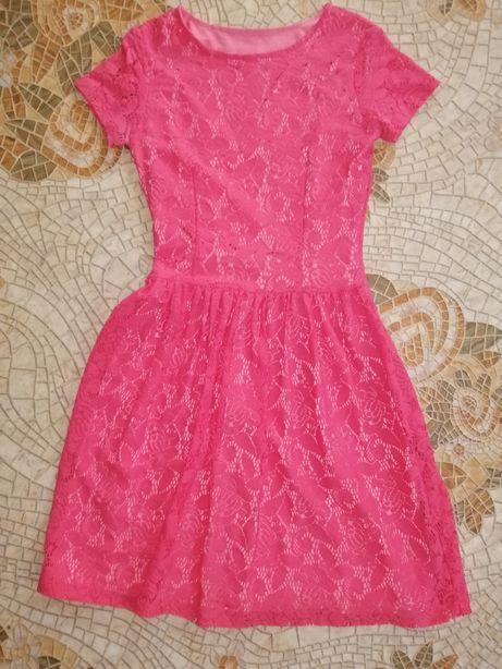 Женское Платье малиновое / розовое гипюр сарафан