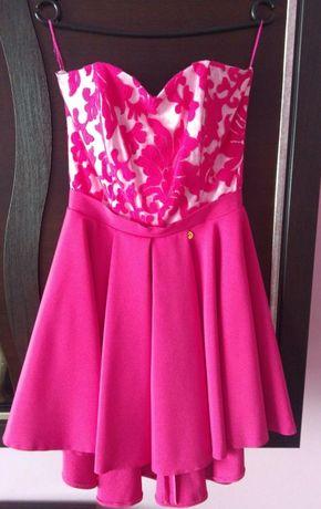 Sukienka biało-różowa, bez ramiączek. Piękna, asymetryczna. Rozmiar 36