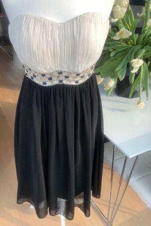 Elegacka zwiewna wieczorowa sukienka czarno-biała