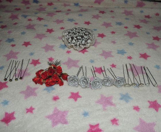 шпильки с цветами и камнями сеточка на гульку пучек