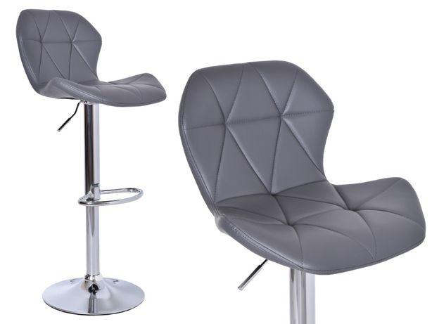 Krzesło barowe GORDON szary hoker obrotowy do biura jadalni kuchni