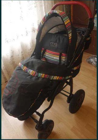 Детская коляска 2 в 1 DPG Etno Paski, цвет черный