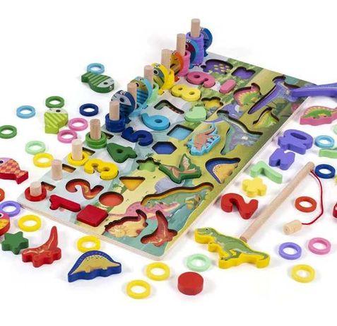 Обучающая развивающая деревянная игра Дино магнитная