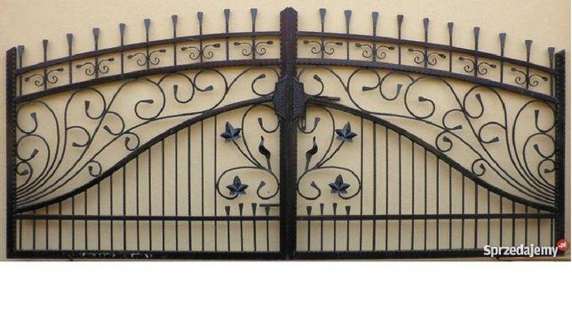 Brama bramy ogrodzenia balustrady kuta dwuskrzydłowa bardzo solidna
