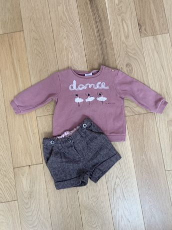 Zara next r. 98 bluza w baletnice spodenki szorty komplet zestaw
