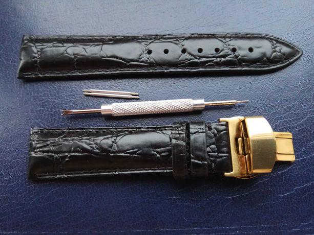 Ремешок для часов из натуральной кожи (кожаный ремешок) заст. бабочка