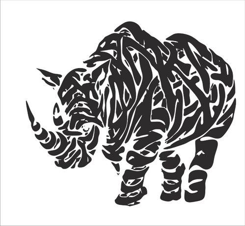Nosorożec, naklejka na ścianę, ścienna, 96 cm x 85 cm