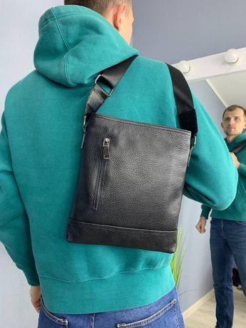 Премиум Сумка мужская натуральная кожа Black через плечо чоловіча сумк