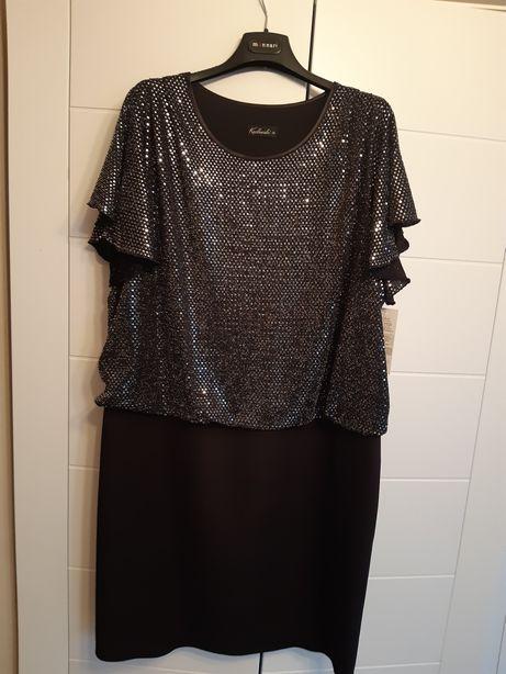 Nowa elegancka sukienka suknia czarna - srebrna góra r.44-46 XXXL