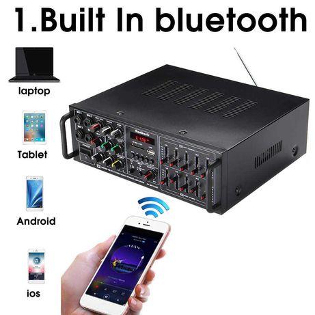 Amplificador de 2000w, ac  220v, bluetooth,Hifi, fm, usb, sd comando