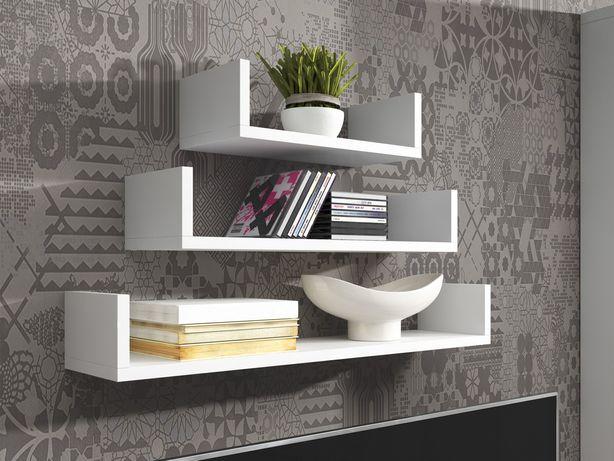 Stylowa półka wisząca na książki Biały/Dąb sonoma