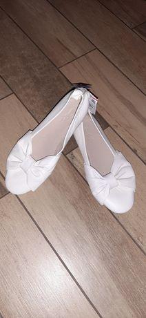 Ecru kremowe baleriny skórzane Zara rozmiar 35 nowe