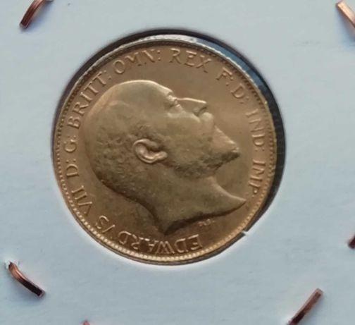 Moeda ouro meia libra ouro 1909