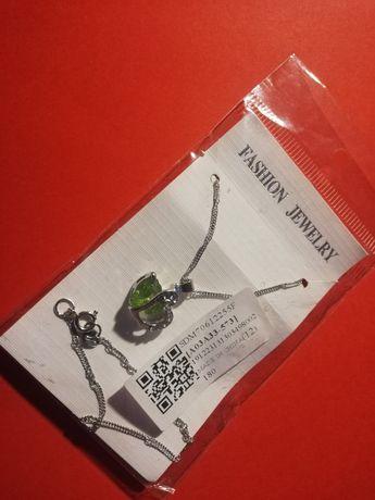 Naszyjnik z dwoma sercami - wisiorek zielony