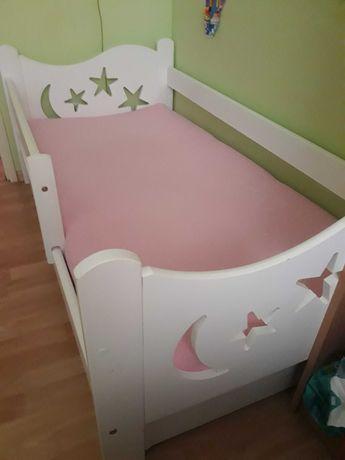 Łóżko drewniane 145/75 z materacem