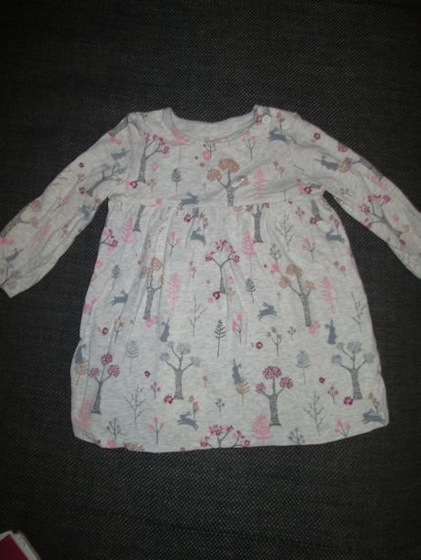 Sukienka dziewczęca długi rękaw bawełna F&F r.74 + gratis legginsy