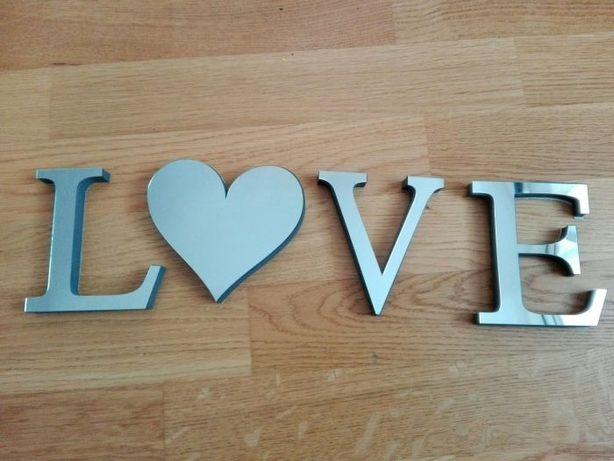 Szklane literki napis love lustrzane przyklejane