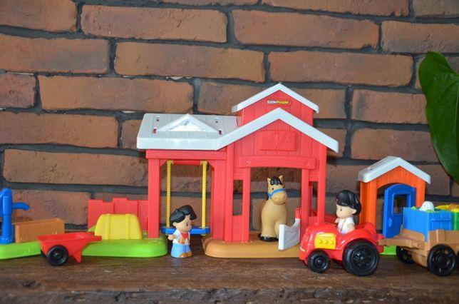stajnia Fisher Price + traktor z przyczepką Fisher Price