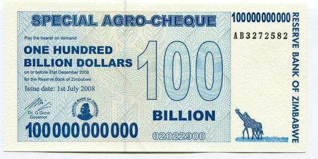 Zimbabwe 100 Billion Dollars 2008 AB nota Naõ Circulado Original