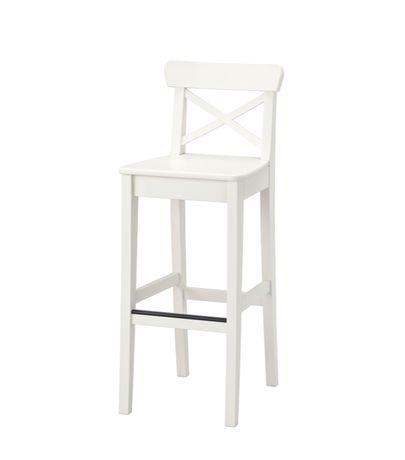 Stołek barowy INGOLF, biały, 75 cm, firmy IKEA