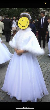 sukienka komunijna z bolerkiem komunia biała elegancka