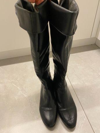 Zara buty kozaki czarne suwak złoty z tylu 38