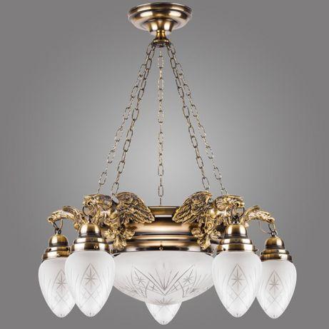 ŻYRANDOL LAMPA ORZEŁ elegancki stylowy retro vintage mosiądz kryształ