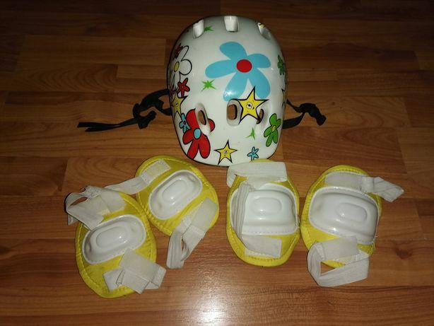 Kask dziecięcy dla dziewczynki + Ochraniacze na łokcie i kolana