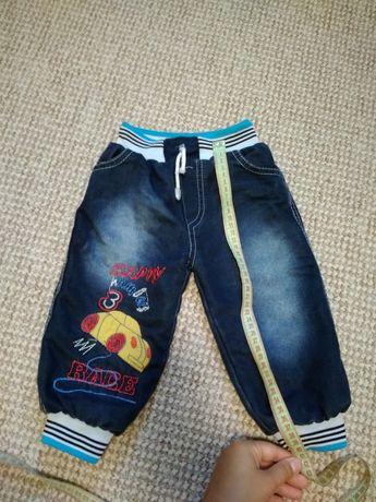 Теплые штанишки на мальчика, тёплые джинсы, штаны на флисе, зима