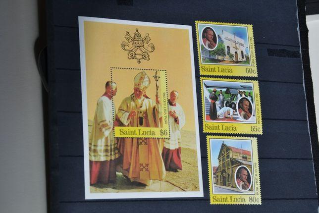 Znaczki. Saint Lucia.. Papież Jan Paweł II **