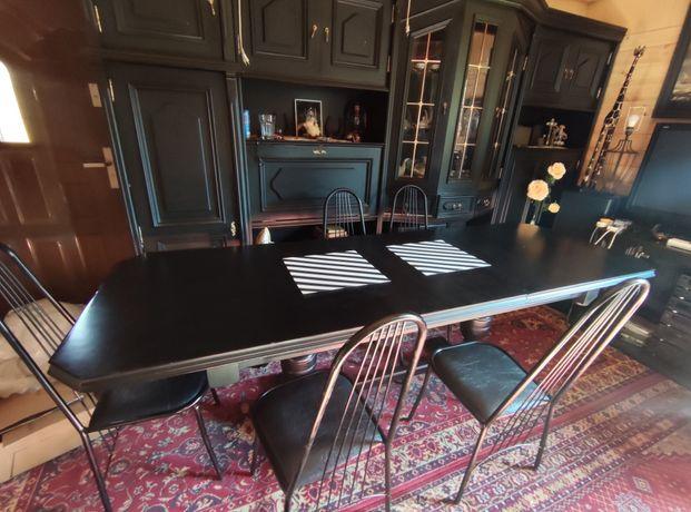 Duży drewniany rozkładany stół czarny z krzesłami (6szt)