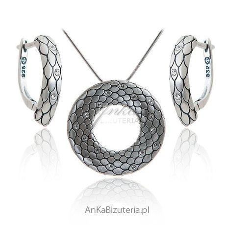 ankabizuteria.pl zawieszka srebrna róża Komplet srebrny oksydowany Skó
