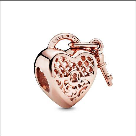 Charms serce Walentynki do pandora 925 pozłacany