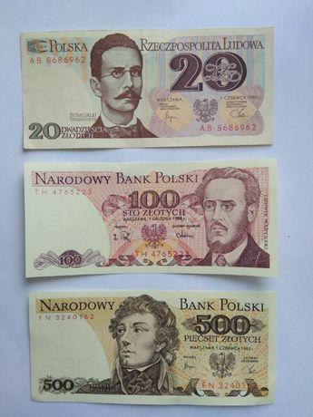 Банкноты Польши:20(1982),100(1988) и 500(1982) злотых