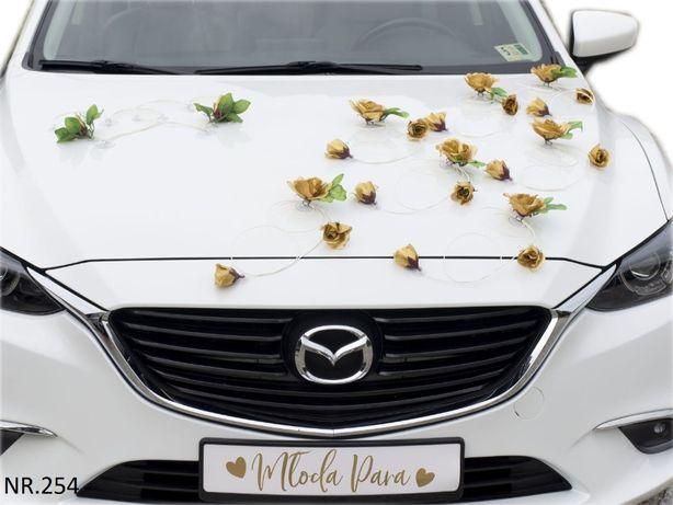 Piękna ZŁOTA dekoracja na samochód. Złote róże.Ozdoba kolor złoty
