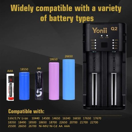 Универсальное зарядное устройство YONII Q2 USB 18650, AA, AAA, 14500